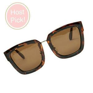 BCBG Lena Brown Square Tort Sunglasses NIP!